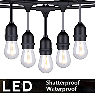 FOXLUX Outdoor LED String Lights - 48 ft Shatterproof and Waterproof S14 Heavy-Duty Outdoor Lights - 15 Hanging Sockets, 1 W Plastic Bulbs - Create Ambience for Patio, Backyard, Garden, Bistro, Cafe