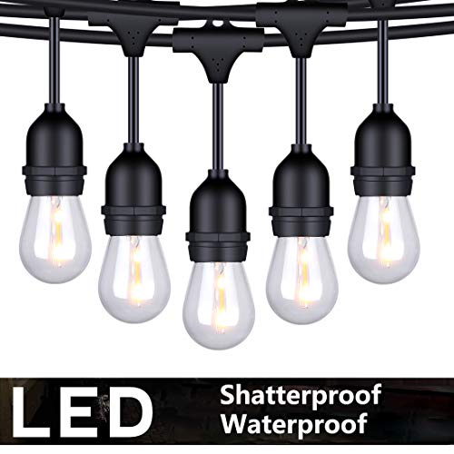 FOXLUX Outdoor LED String Lights - 48 ft Shatterproof and Waterproof S14 Heavy-Duty Outdoor Lights - 15 Hanging Sockets, 1 W Plastic Bulbs - Create Ambience for Patio, Backyard, Garden, Bistro, Cafe -