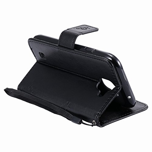 Yiizy LG K3 (2017) Custodia Cover, Alberi Disegno Design Premium PU Leather Slim Flip Wallet Cover Bumper Protective Shell Pouch with Media Kickstand Card Slots (Nero)