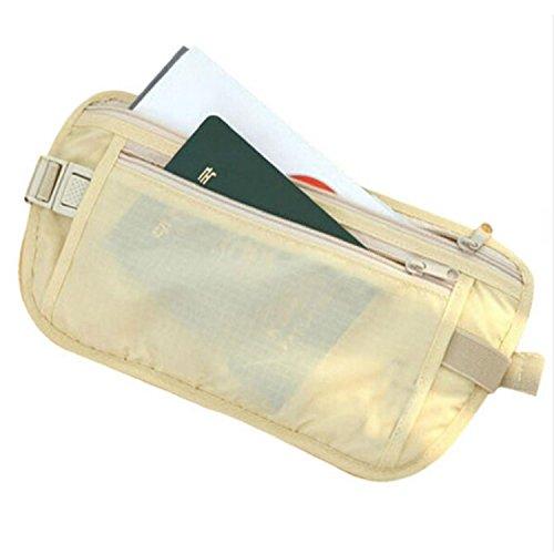 in soldi documenti cinghia uomo con e Marsupio tessuto sottile da donna relogabile beige beige invisibile porta wqtXxYBU
