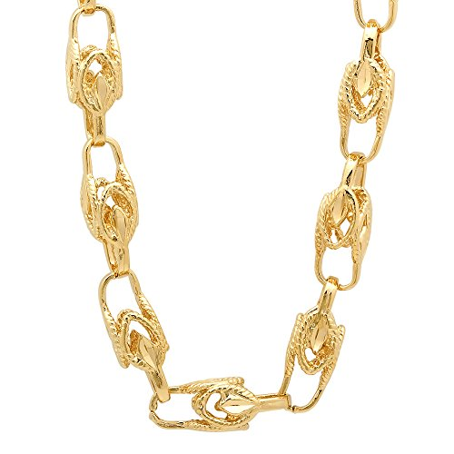 9mm 14k Yellow Gold Plated Roped Leaf Bullet-Shaped Squared Link Chain, 30'' + Jewelry Polishing Cloth by The Bling Factory