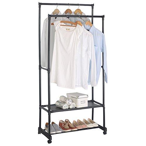 WOLTU Double-rail Clothing Garment Rack Coat Storage on Wheels (Halloween Costumes Your Closet Easy)