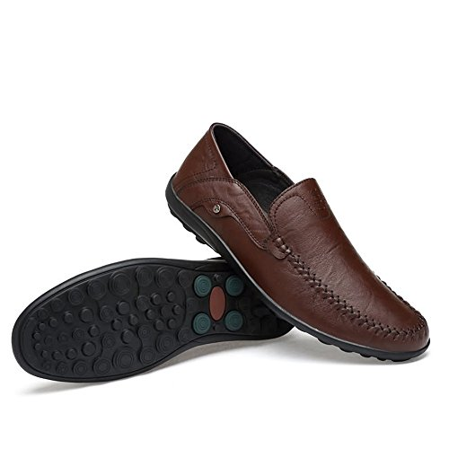 shoes para de Formal Fiesta Loafer Eventos Cuero Incluso Jiuyue Vacuno Mocasines Conducción Hollywood Hombre Casual de Darkbrown o 44 Piel Estilo Negro dT4zqpxw