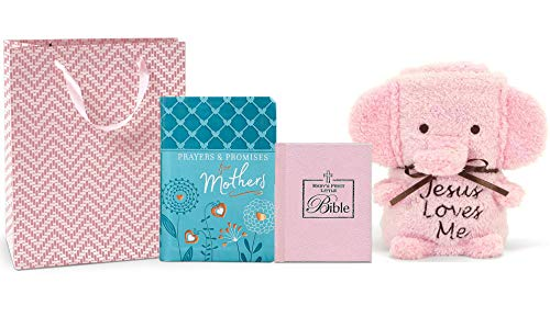 for Newborn, Baby Gift Bundles, Baptismal Gift for Baby Girl or Baby Boy, Unique Baptism Gift Ideas for Babies, Mom to be Gifts, Animal Blanket, Baby Bible, (Pink Elephant) ()