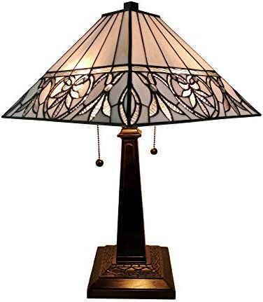 Amora Lighting Tiffany Style Table Lamp Banker Mission 22″ Tall Stained Glass White Mahogany Floral Flower Vintage Antique Elegant Light D cor Living Room Bedroom Handmade Gift AM303TL14B