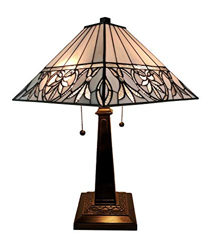Chloe Lighting CH18648-IVRY-DT3 Tiffany-Style 3-Light Double Lit Table Lamp with 18-Inch Shade