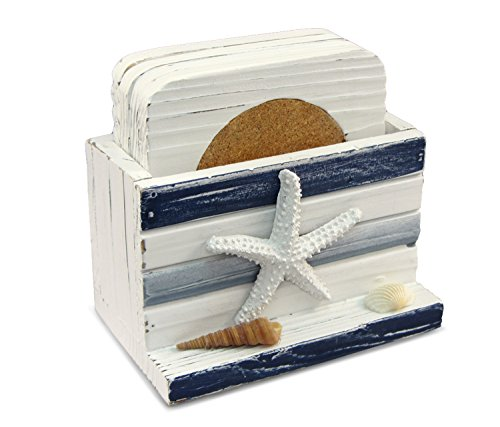 Puzzled Blue Stripes Coasters Nautical Decor ()