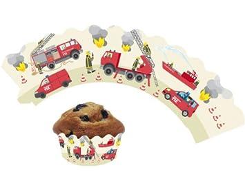 12 Feuerwehr Cupcake Deko Banderolen Von Dh Konzept