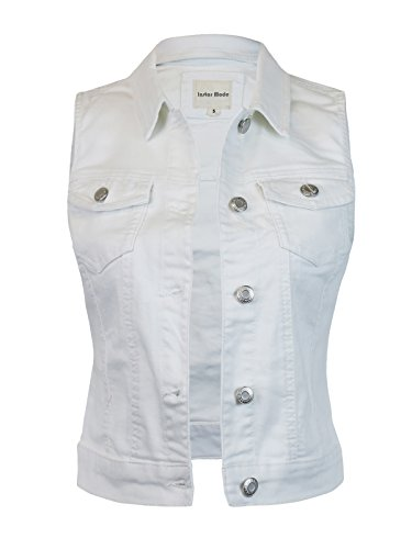 Instar Mode Women's Sleeveless Button up Jean Denim Jacket Vest White - Vest Lace White