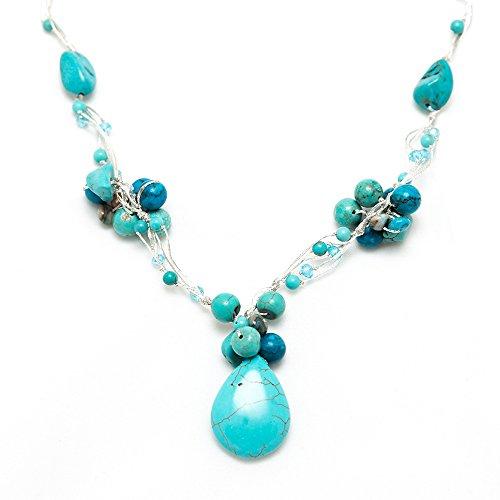 Handmade Blue Turquoise Gemstones Beads Silk Thread Cluster Women Necklace 17