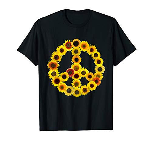 Sunflowers Peace Sign T-Shirt 70s Love & Kindness Tshirt