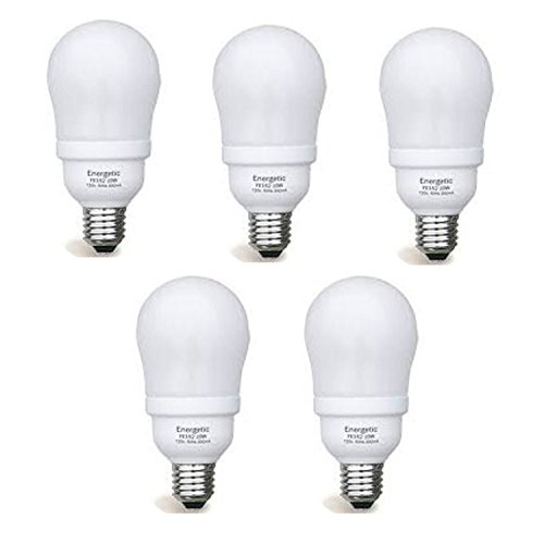 Set of 5 Energetic Lighting CFL 19 Watt - 90 Watt Equivalent E26 shape 2700K 1050 Lumen, Warm White, FE152 (8000 Life (2700k 8000 Hour Compact)
