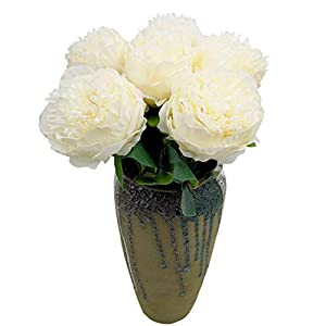 cn-Knight Artificial Flower 6pcs Silk Peony Real Touch Bundle Fake Flower for Wedding Bridal Bouquet Bridesmaid Groomsman Home Décor Office Baby Shower Party Centerpieces(Creamy White) 45