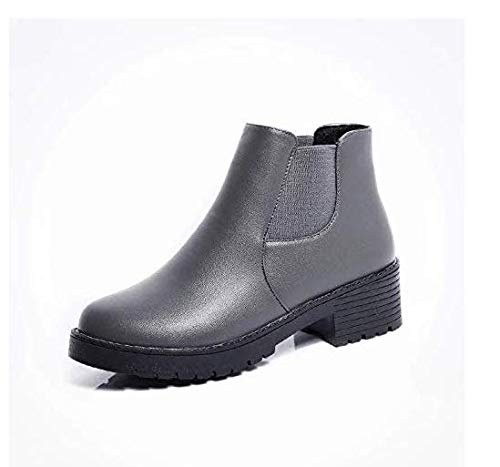 Qiusa High Heels Dicker Absatz Stiefel Martin Stiefel England dick mit schwarz (Farbe   Grau Größe   EU 40)