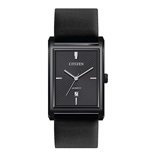 Citizen Analog Black Stainless Steel Dial with Date Display and Leather Strap, Quartz Men's Watch - BH3005-05E
