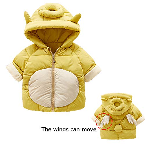 Baby Girls Boys Autumn Winter Hooded Coat Cartoon Unicorn with Cute Moving Wings Thick Cotton Warm Clothes (Yellow, L/39.37