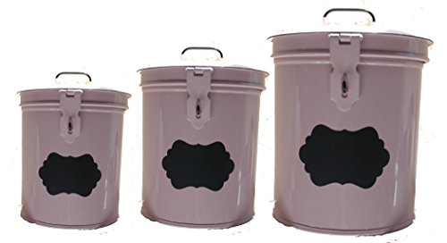 Pink Metal Enamel Enamelware Canister Set of 3 with Chalk Labels