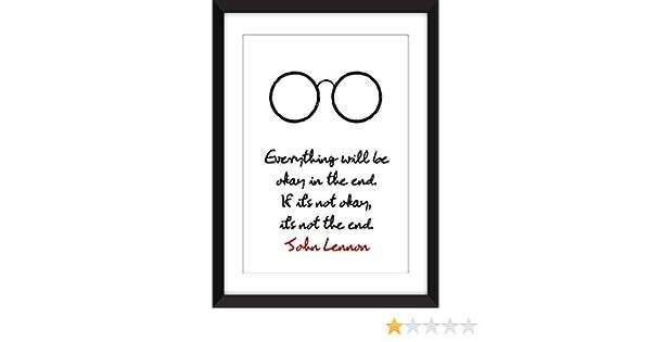 Amazoncom John Lennon Everything Will Be Okay Quote Unframed