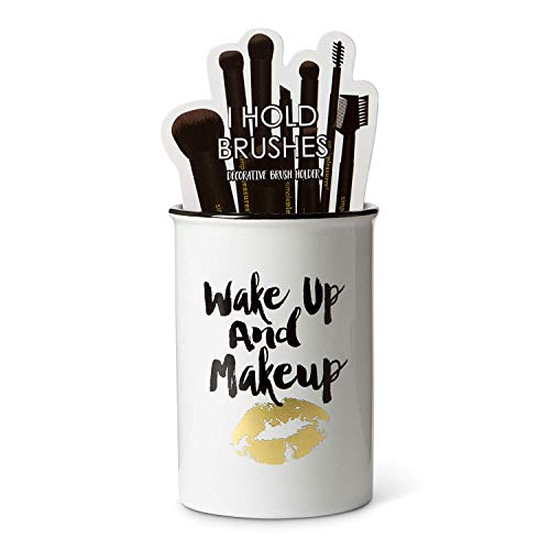 "Tri-coastal Design Ceramic Makeup Brush Holder Storage""Wake Up and Makeup"" Cosmetic Organizer for Make Up Brushes and Accessories - Round White Cosmetics Cup for Bathroom Vanity Countertop"