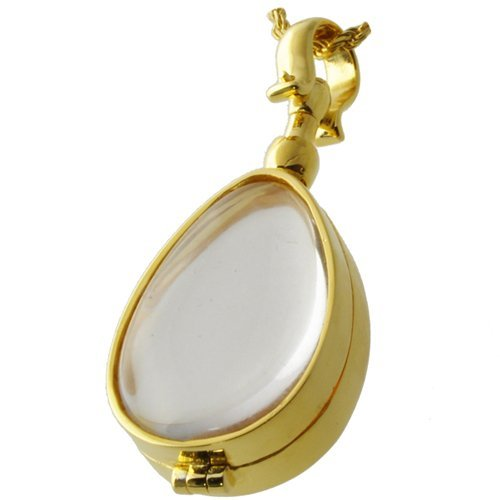 Memorial Gallery 5005gp Glass Teardrop Victorian Locket 14K Gold Plating Cremation Pet Jewelry