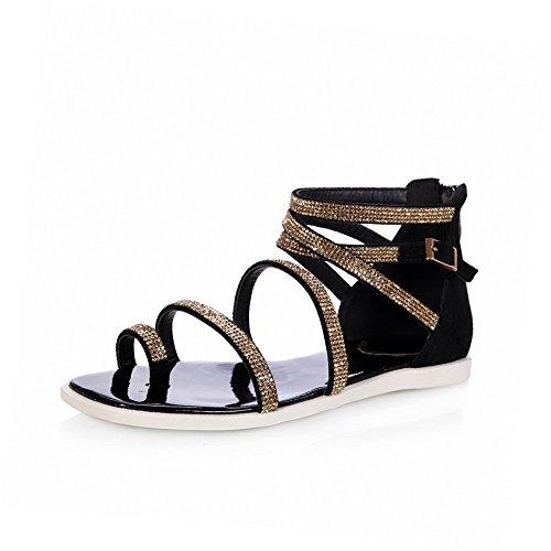 Amoonyfashion Kvinna Öppen Tå No-häl Mjukt Material Fast Spänne Sandaler Guld