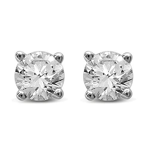 Earrings Big Diamond (Diamond Jewel 14K Gold Round Diamond Stud Earrings (White-Gold, 0.5))