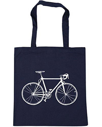 HippoWarehouse bike illustration Tote Shopping Gym Beach Bag 42cm x38cm, 10 litres French Navy