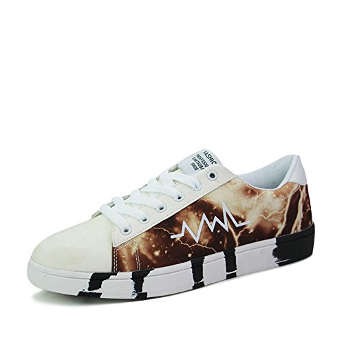 Leader show Mens Fashion Comfort Flat Low Skate Shoes White A1pzhwvcxw