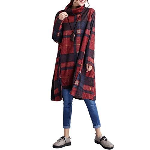 Rosso Landove Camicia T B Vestito Tinta Taglie Casual Unita Donna Swing Manica Pullover Linea Lunga Invernale Felpa Alto Ragazza Collo Vestiti A Abito Maglietta Shirt Forti SrwxBSnT