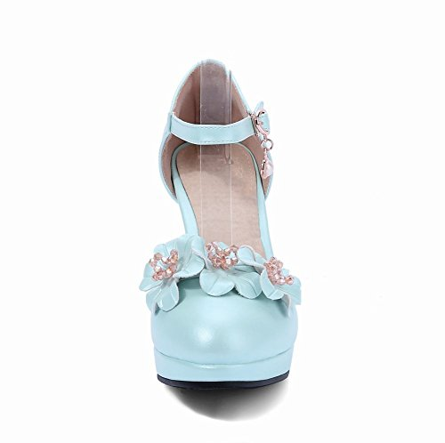 Mee Shoes Damen ankle strap Schnalle Blümchen Pumps Hellblau