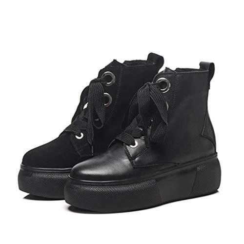 Mode Cuir Chaussures Dames Hiver Automne Yanyan Bottines Bottes Une Femmes Éclair Plate À En forme Lacets Pour Martin Fermeture 8qCTwC4xp