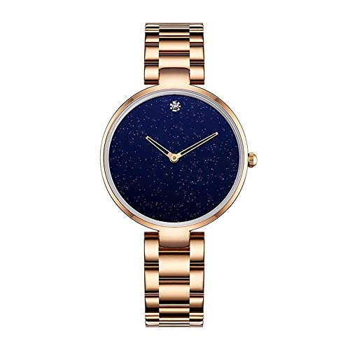 BEWITCHYU Practical Wristwatches Women 's Simple Star Ultra-Thin 8Mm Quartz Watch 30Mm Solid Steel Belt Casual Fashion Decorative Watch BraceletGold