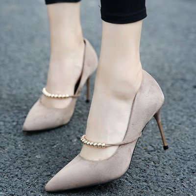High Mouth MDRW Suede With Work Shoes Heeled Fine Chain 9Cm Shallow 34 Ladies Shoes Shoes Khaki Metal Lady Match Spring All Elegant Is Leisure Elegant x6rqAX60
