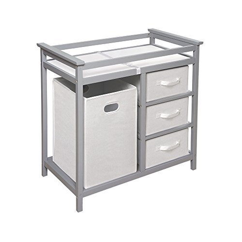 Badger Basket Changing Table with 3 White Baskets and Hamper Storage, Gray by Badger Basket