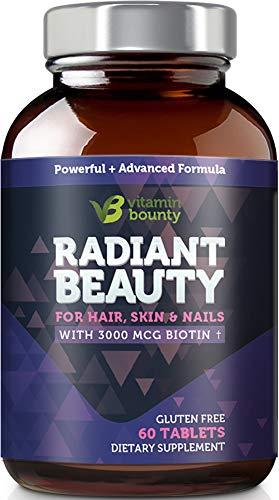 Radiant Beauty Hair Vitamins - Hair Regrowth & Stronger Hair, Healthy Skin and Stronger Nails - Vitamin Bounty