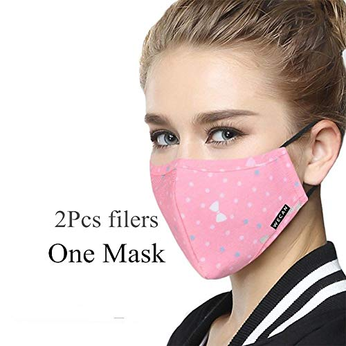 I Can Breathe Mask - ZWZCYZ Women's Ladies Girls N95 PM 2.5 Cotton & Activated Carbon Respirator Masks Can Be Washed Reusable Masks Multiple Colors (Pink Bow)