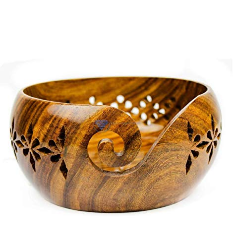 Arsh Nautical Lot of 8 Pcs Rosewood Crafted Wooden Yarn Storage Bowl with Carved Holes & Drills | Knitting Crochet Accessories (Small) A by Arsh Nautical (Image #2)