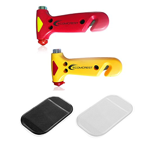 Car Safety Hammer, Window Breaker and Seatbelt Cutter. Pack of 2. Comes With Dashboard Mat by Ecomcrest (Image #2)