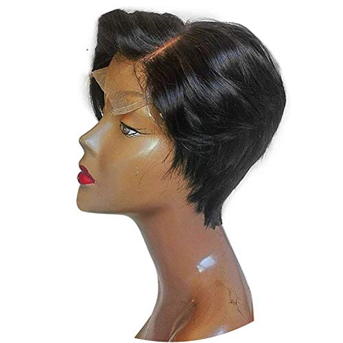 Short Bob Lace Front Human Hair Wigs For Women Black Color Pixie Haircut Remy Lace Wig With Bangs French Cut By Slove,Ombre,8inches]()