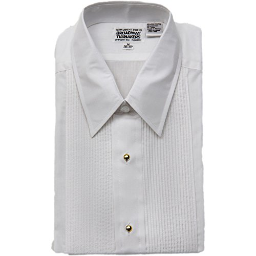 Mens Laydown Collar White Tuxedo Shirt with Gold Studs By Broadway Tuxmakers