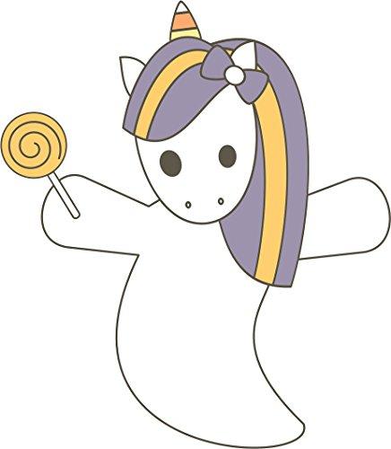 Cute Adorable Halloween Unicorn Ghost With Lollipop Candy Cartoon Vinyl Decal Sticker (8