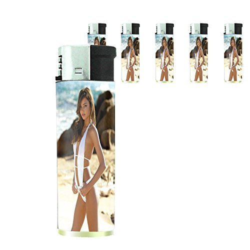 Australian Bikini Model Lighters S3 Set of 5 Electronic Refillable Flame Cigarette Smoking Sexy Australia