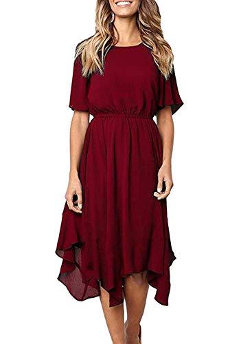 Women's Summer Casual Loose T Shirt Short Sleeve Midi Chiffon Dress Elastic Waist Swing Dresses with Irregular Hem (Medium, Wine Red)