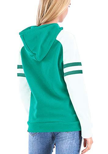 Yidarton Women's Color Block Long Sleeve T Shirt Casual Round Neck Tunic Tops Hoodies(Green,M) by Yidarton (Image #1)