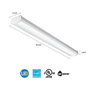 Lithonia Lighting FMLWL 48 840 Contractor Select 4 ft. White Wraparound Flushmount-LED Ceiling Light for Garage | Attic | Basement | Home |shoplight 4000K, 4-Foot, Cool
