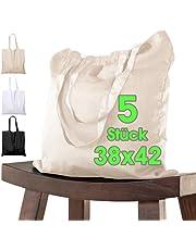 Katoenen tas, 38 x 42 cm, onbedrukt, twee lange hengsels, Oeko-Tex® gecertificeerd, stoffen tas, draagtas, katoenen tas, boodschappentas, jute tas, stoffen tas, boodschappentas om te beschilderen