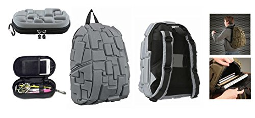 Grey 18 Minecraft Blok Full Size Backpack and Pencil Pouch Set