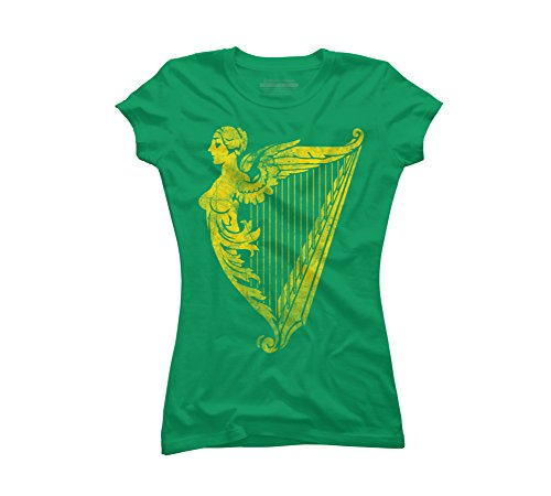 (Design By Humans Irish Harp Heraldry - Weathered Gold Juniors' Large Kelly Green Graphic T)