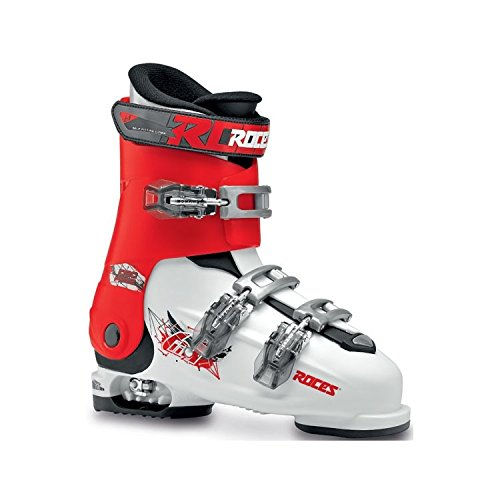 Black Kids Ski Boots - Roces Idea Free Kids Ski Boots - 22.5-25.5/White-Red-Black