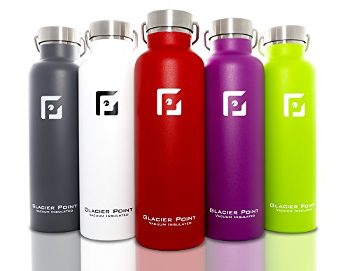 Glacier Point Vacuum Insulated Stainless Steel Water Bottle. Double Walled Construction.(25oz / 750ML White) - Glacier Bottle